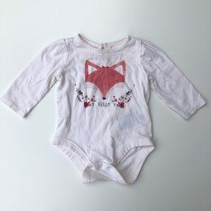 Baby Gap Hello Floral Fox Long Sleeve Bodysuit
